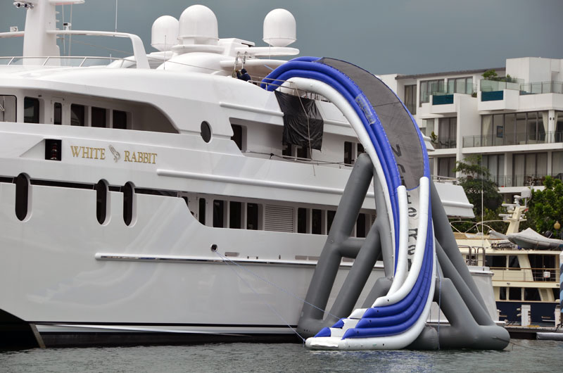 The NEW Cruiser curved slide from Freestyle Cruiser yacht water slides.